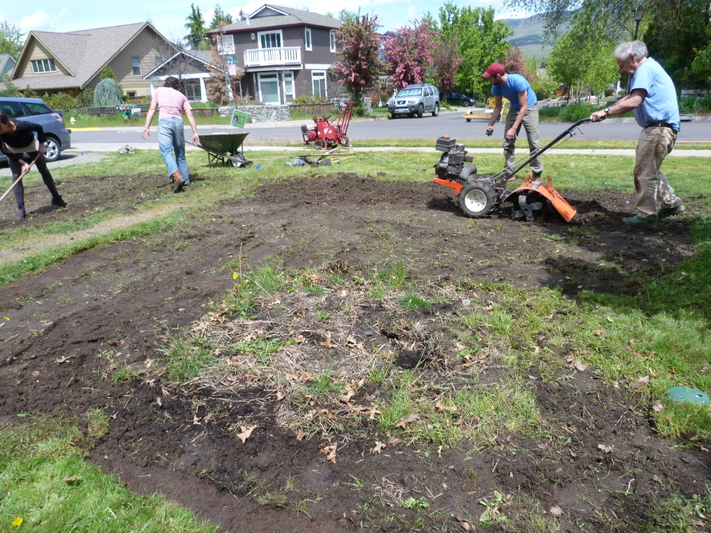 Removing the lawn, with some friends, it took a few hours