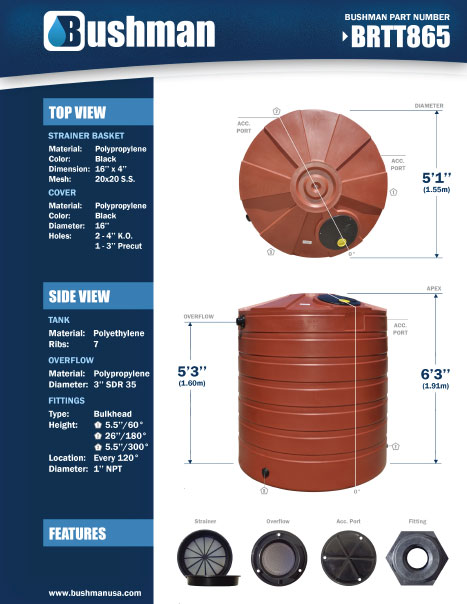 865 Gallon rain tank